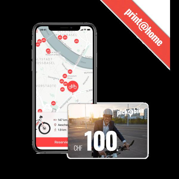 Pick-e-Bike Gutschein CHF 100